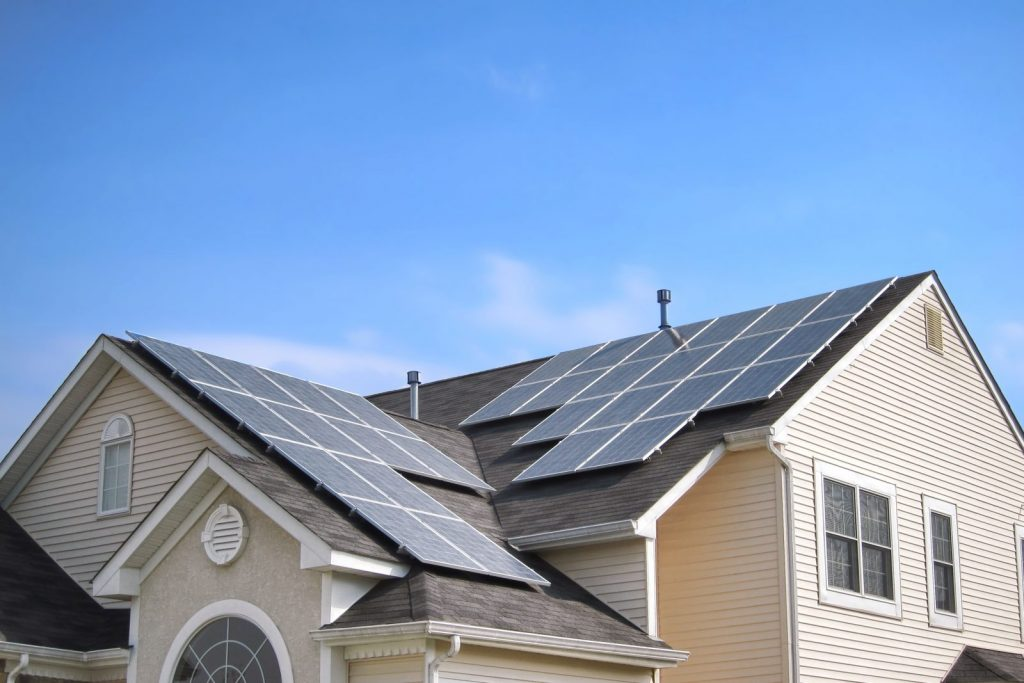 home solar panels on the roof of a house